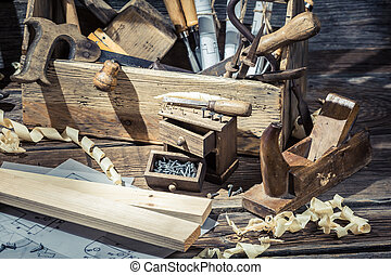 Old carpentry workshop with toolbox