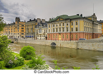 Canal in Stockholm. - Canal in Stockholm, Sweden.