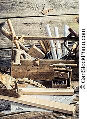 Antique carpentry workbench