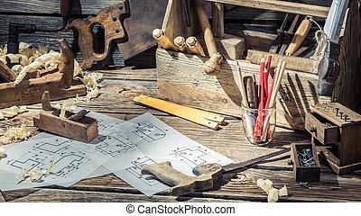 Vintage wooden drawing desk in carpenter workshop