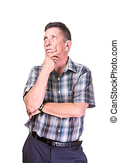 Transgender Man Thinking - Thinking transgender man in plaid...