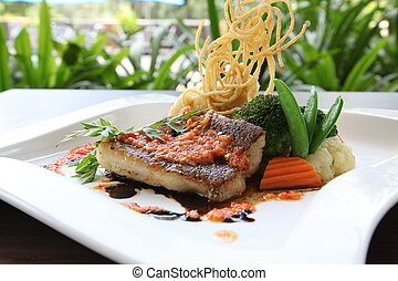 Grilled seabass fillet dish - Grilled seabass fillet seafood...