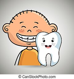 smiling child and tooth cartoon vector illustration