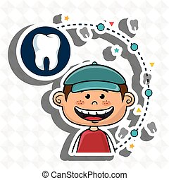 Smiling child, dental care,boy with a cap