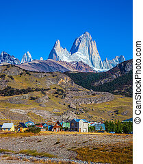 El Chalten and fantastic rocks Fitz Roy - The town of El...