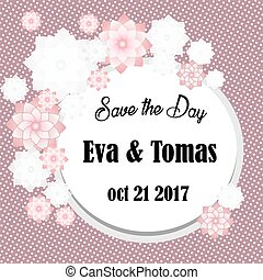 Elegant save the date card with original frame on retro background. Vintage wedding invitation or announcement template. Vector illustration