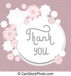 Thank you handwritten. Original frame on retro background. Vector illustartion