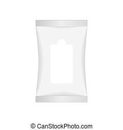 White wet wipes package with flap isolated on white background. Ready for your design. Vector illustartion