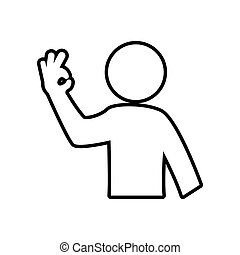 Human hand pictogram fingers gesture silhouette icon. Vector gra