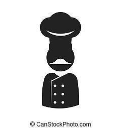 Chefs hat chef pictogram silhouette icon Vector graphic -...