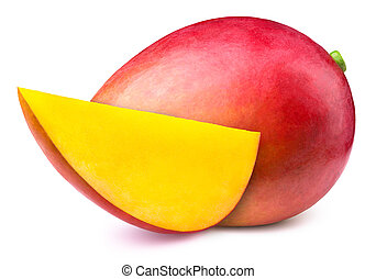 Mango with slice isolated on white background, with clipping...