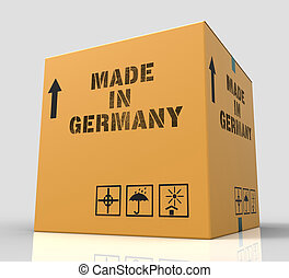 Made In Germany Means Factory Package And Shopping 3d...