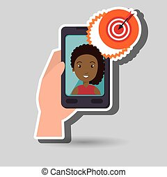 Woman on the screeen of a smarthone. vector design