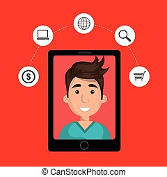 black smartphone with cartoon man in the screen and money...