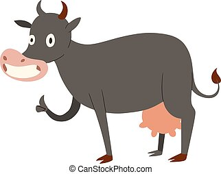 Milk cow cartoon character - Milk cow bull buffalo cartoon...