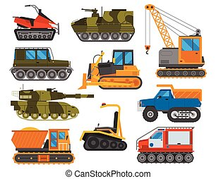 Caterpillar equipment tractor vector set - Tracked excavator...