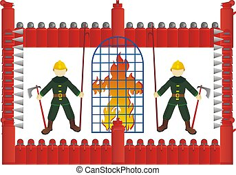 The fire behind bars - Abstract image of fire in the cell,...