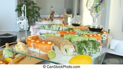 Sushi buffet on table