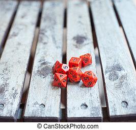 tabla, juego, rojo, dados, en, de madera, tabla