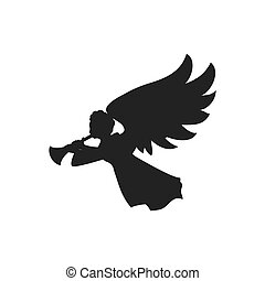 angel silhouette fairy wing heaven icon. Vector graphic -...