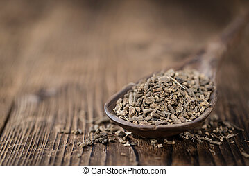 Heap of valerian roots close-up shoton vintage wooden...