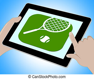 Tennes Online Shows Tennis Racket And Computer