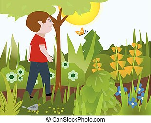 Walking in the Garden - A man walking on a garden path, with...