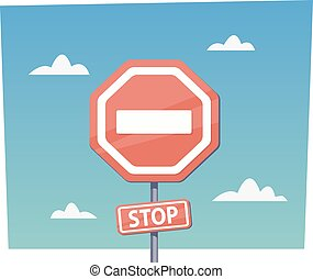 Cartoon red stop sign Vector objects in flat cartoon style -...