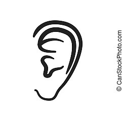ear human listen sound body part icon Vector graphic - ear...