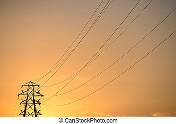 Pylons - Electricity pylons at sunset, energy power lines