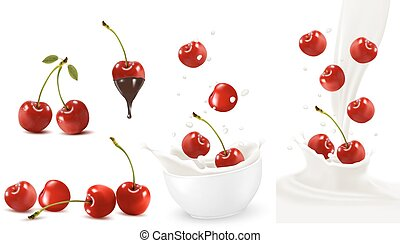 Set of ripe sweet cherries with leaves and splash of milk....