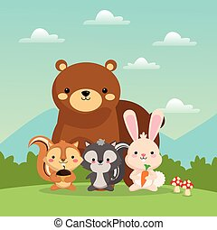 Bear squirrel rabbit and skunk cartoon icon. Vector graphic