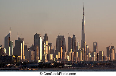 Dubai Skyline - Skyline Dubai, Skyscrapers and Burj al...