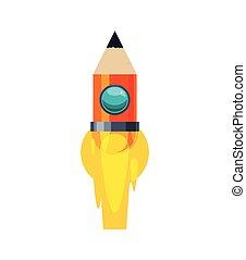 light bulb pencil rocket start up innovation icon Vector...