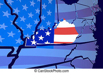 Kentucky KY State Map USA United States America Flag 3d Illustration