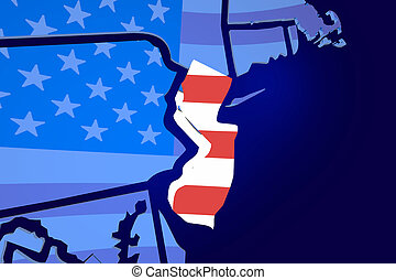 New Jersey NJ USA Flag United States America Map 3d...