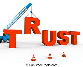 Build Trust Indicates Believe In And Belief 3d Rendering -...