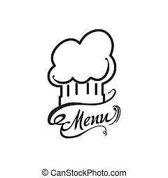 Chefs hat menu kitchen restaurant icon Vector graphic -...