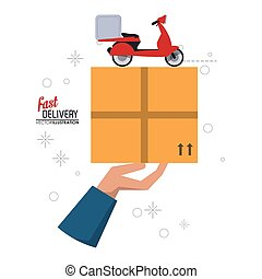 Motorcycle and package icon. Fast delivery design. Vector graphic