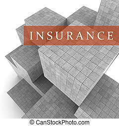 Insurance Blocks Shows Financial Policy And Indemnity 3d...