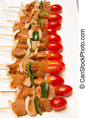 Vegetable and Chicken kabobs - marinated barbeque Vegetable...