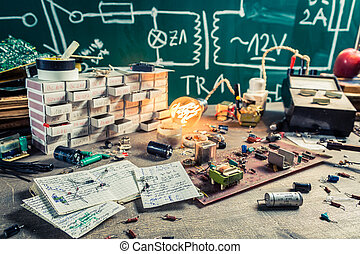 Vintage electronics components in laboratory