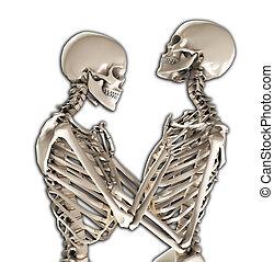 Tender Skeletons - A pair of skeletons in a loving and...