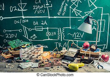 vendimia, electrónica, física, Lugar de trabajo, Laboratorio