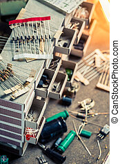 Old electronics components in laboratory