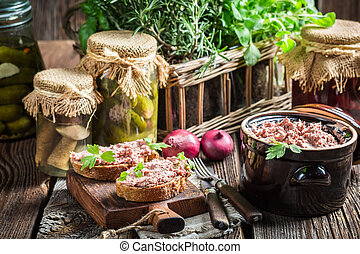 Fresh pate with parsley