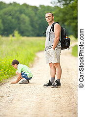 Father and son outdoor