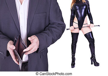 Man and sexy dominatrix holding riding crop, isolated on...