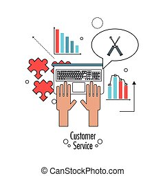 Laptop and screwdriver icon. Customer Sevice design. Vector...