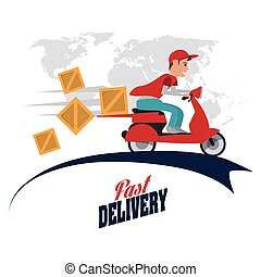 Motorcycle and package icon. Delivery design. Vector graphic